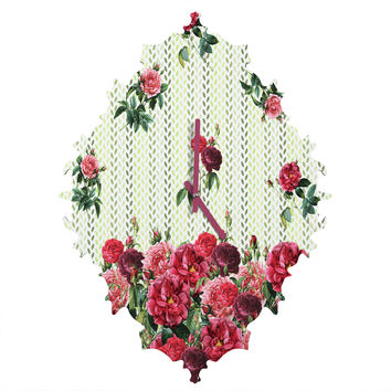 Belle13 Vintage Rose Pattern Baroque Clock
