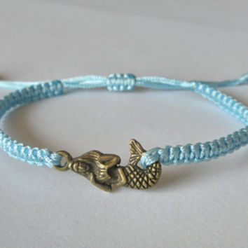 Braid Antiqued Bronze Cute Little Mermaid Bracelet / Light Blue Nylon Rope Braid / Best Bridesmaid Gift, Friendship Gift