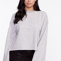 Frayed Hem Crewneck Sweater