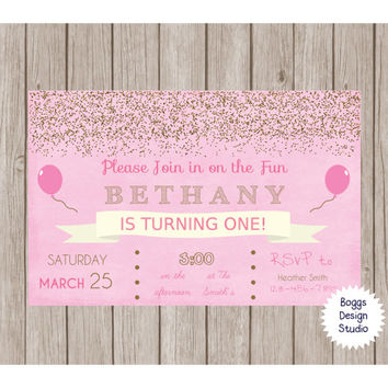Gold Confetti Pink Invitation Balloons 5x7 Custom Birthday, Bridal Shower, Baby Shower, Bachelorette, Save The Date, Wedding, Anniversary