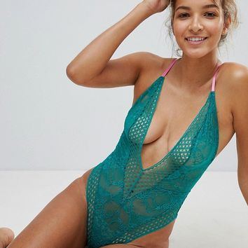 ASOS Hallie Lace & Contrast Body at asos.com