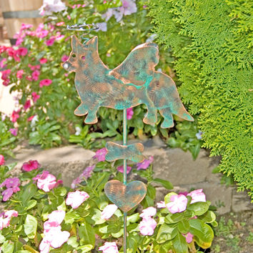 Cardigan Welsh Corgi Dog / Garden Stake / Angel Pet Memorial Dog / Metal Yard Art / Grave Marker / Copper Garden Art / Corgi Sculpture