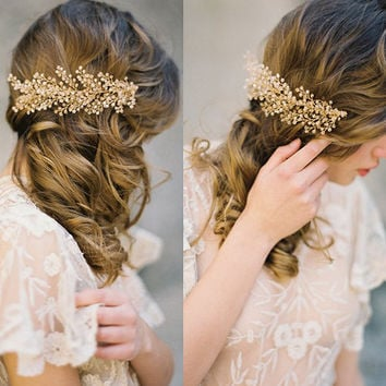 Gold Crystal Metal Hair Combs Bridal Wedding Tiara Handmade transparent crystal beads headbands Branches leaves Headdress
