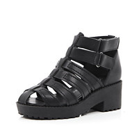 River Island Girls black velcro clumpy sandal