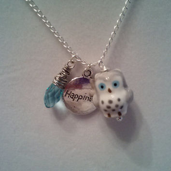 Simple But Elegant Silver Chain Necklace with a Lovely Ceramic Owl Charm, a Happiness Charm and a Wire Wrapped Teardrop Swarovski Crystal