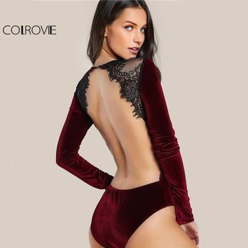 Backless Velvet Lace Burgundy Long Sleeve Bodysuit