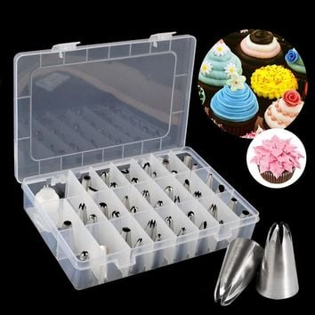 42 Pcs Stainless Steel Bakery Pastry Tools Cream Cake Decorating Tips Icing Piping Nozzles Set Kitchen Tool Shopping Festival