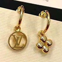 LV Louis Vuitton 925 Silver Needle Newest Stylish Women Simple Earrings Accessories Jewelry Golden