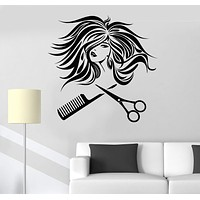 Vinyl Wall Decal Hair Salon Woman Beauty Hairdresser Stylist Stickers Unique Gift (ig4013)