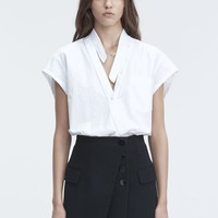 Alexander Wang COTTON POPLIN BODYSUIT TOP | Official Site