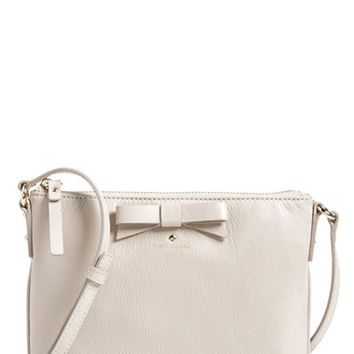 kate spade new york 'north court - bow tenley' pebbled leather crossbody bag