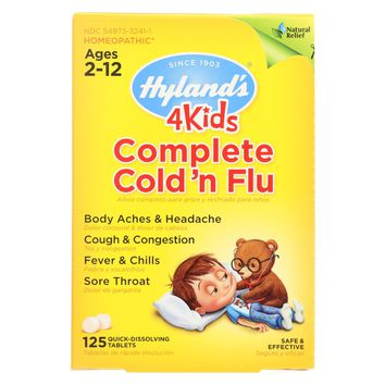 Hylands Homeopathic Cold N Flu - 4 Kids - Complete - 125 Quick-dissolving Tablets