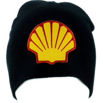 Shell Gas Station Beanie Knit Cap Alternative Grunge Clothing Oil Company