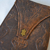 Antique Early 1900's Hand Tooled Leather Hand Bag