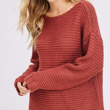 Here For Comfort Rust Sweater