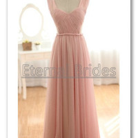 Blush Pink Sweetheart Hater Neckline Empire Waist with fully Beads Chiffon Prom/ Evening Dress