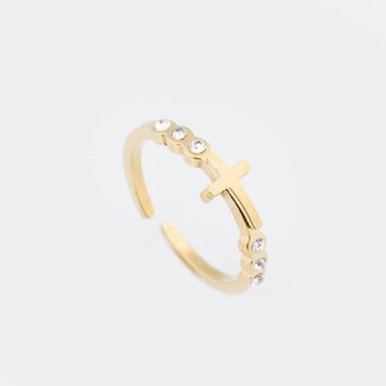 Gold Cross Ring, Cross Ring, Stacking Ring, Pinky Ring, Knuckle Ring, Gold Ring, Thumb Ring, Minimalist Ring,   0024RM