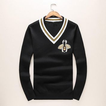ca qiyif Man Luxury Winter gentleman embroidery Bees Knit Casual Sweaters