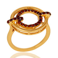 Garnet 18K Gold Plated Sterling Silver Stylish Gemstone Ring