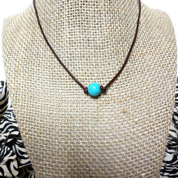 single tuquoise leather choker,leather turquoise necklace,turquoise leather necklace,one turquoise necklace,turquoise bead leather jewelry