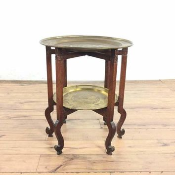 Chinese Two-Tier Brass and Wood Side Table