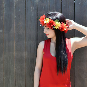 Flower Crown - Flower Headband - Flower Hairpiece - Red and Yellow Daisies - Daisy Headband
