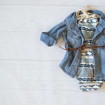 Aztec Tribal Print Romper for Baby Toddler Girl Modern Knit Fabric