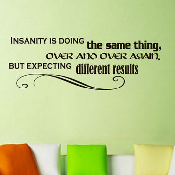 Wall Vinyl Decal Quote Sticker Home Decor Art Mural Insanity: doing the same thing over and over again and expecting different results Z109