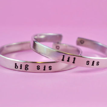 big sis / lil sis  -  Hand Stamped Aluminum Cuff Bracelets Set, Newsprint Font, Forever Love, Friendship, BFF
