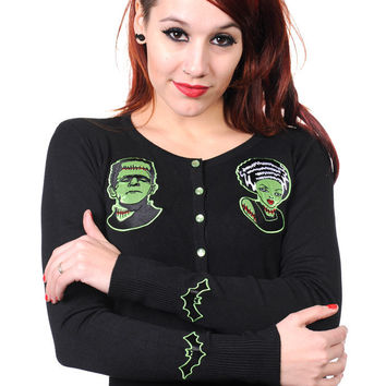 Bride of Frankenstein by Banned Goth Punk Rockabilly Cardigan Living Dead Souls