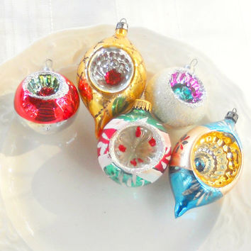 Five Hand Blown Glass Ornaments - Vintage, Antique, German, Mercury Glass, Christmas Ornaments, Holiday Decor, Collectible