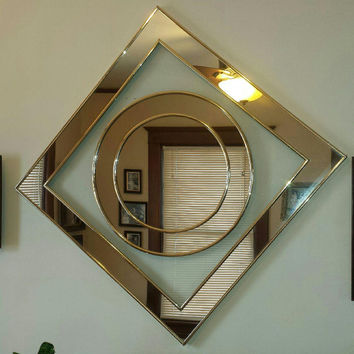 Sale, Sharon Art Concept Mirror, Geometric Design, Reliable, Mfg. Co. Inc., Mid Century Modern Mirror, Art Deco Mirror, Wall Mirror