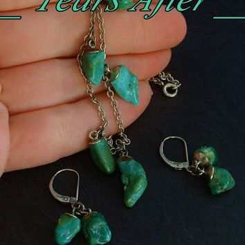 Vintage NATIVE American STERLING Silver Turquoise NECKLACE EARRINGS Navajo Hallmarks c.1940's