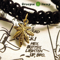 Black and Gold Cannabis Leaf Roach Clip Hemp Bracelet - 420 Roach Clip Jewelry - Stoner Pothead Marijuana Leaf Hemp Bracelet - 420 Hemp