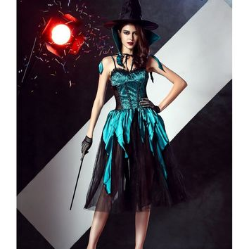 MOONIGHT 4 Pcs Halloween Witch Costume For Women Long Dress Cosplay Gothic Witch Clothes Outfits
