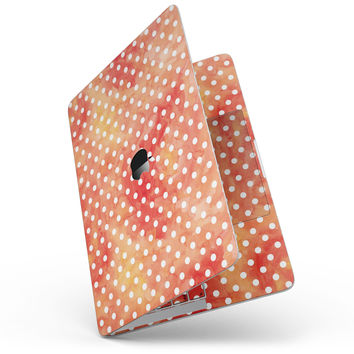 White Polka Dots over Red-Orange Watercolor - MacBook Pro without Touch Bar Skin Kit