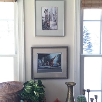 Framed Native American Prints, Bald Eagle Wildlife Artwork, Canadian Indian Tribe Winter Dance Lithograph, 1980s Wildlife Paintings