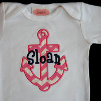Nautical Anchor Baby Monogrammed Baby Girl Clothes personalized Baby Girl Outfit Perfect for Twins Monogram boy Outfit