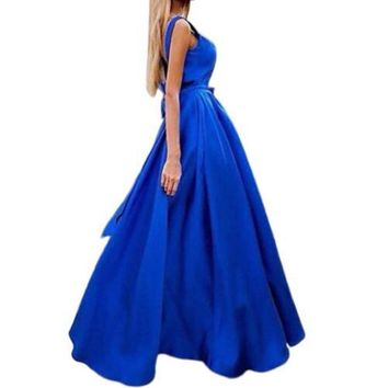New Fashion Women Elegant V Neck Blue Prom Dresses A Line Arabic Dubai Cocktail Dress Luxury Stain Formal Evening Party Gowns