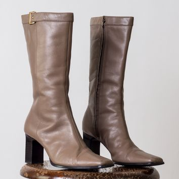 Retro Leather Boots with Gold Buckle