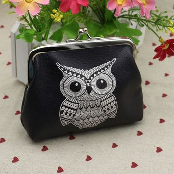 Owl Elephant Pattern Female Wallet Card Holder Coin Purse