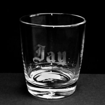 Personalized Etched Rocks/Whiskey Glass