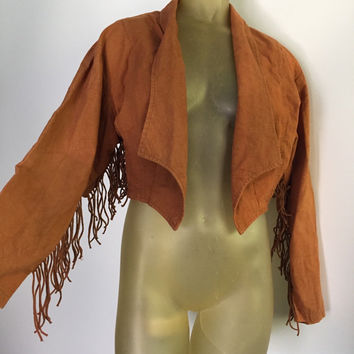 Fringed 80s Jacket, Faux Suede jacket faux Leather fringe sleeves cropped jacket, light brown western cowgirl native 80s M fun 80s boho chic