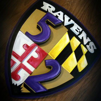 Large 3D Baltimore RAVENS RAY LEWIS Shield Football Sign Logo Wooden Plaque 16x18 Layered Wood Wall