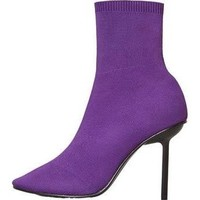 Heel sock boots purple - Women - MANGO