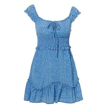 Hang Around Dot Pattern Short Sleeve Off The Shoulder V Neck Smocked Waist Ruffle Flare A Line Casual Mini Dress - 2 Colors Available