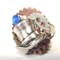 Tophat STeampunk Style Ring Adjestable Band Clock Gears Blue Rhinestone