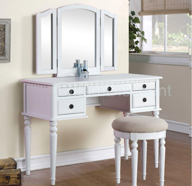 tri fold white vanity makeup 3 mirror from itemdiscount on ebay. Black Bedroom Furniture Sets. Home Design Ideas