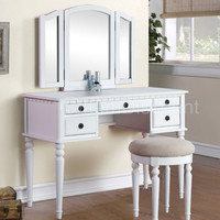 Tri-Fold White Vanity Makeup 3 Mirror Table Set Dresser Drawers Stool Bedroom