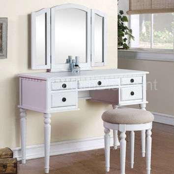 Tri fold white vanity makeup 3 mirror from itemdiscount on for Beauty table